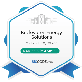 Rockwater Energy Solutions - NAICS Code 424690 - Other Chemical and Allied Products Merchant...