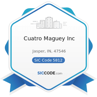 Cuatro Maguey Inc - SIC Code 5812 - Eating Places