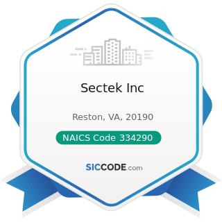 Sectek Inc - NAICS Code 334290 - Other Communications Equipment Manufacturing