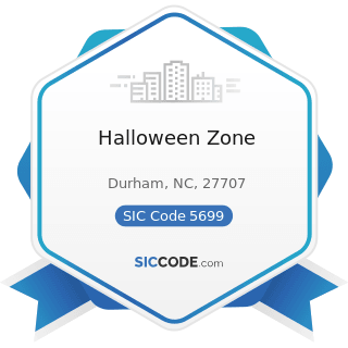Halloween Zone - SIC Code 5699 - Miscellaneous Apparel and Accessory Stores